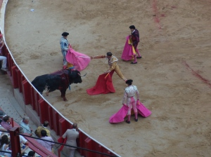 The Matador, Banderilleros and Bull in action