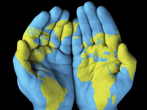 World map hands